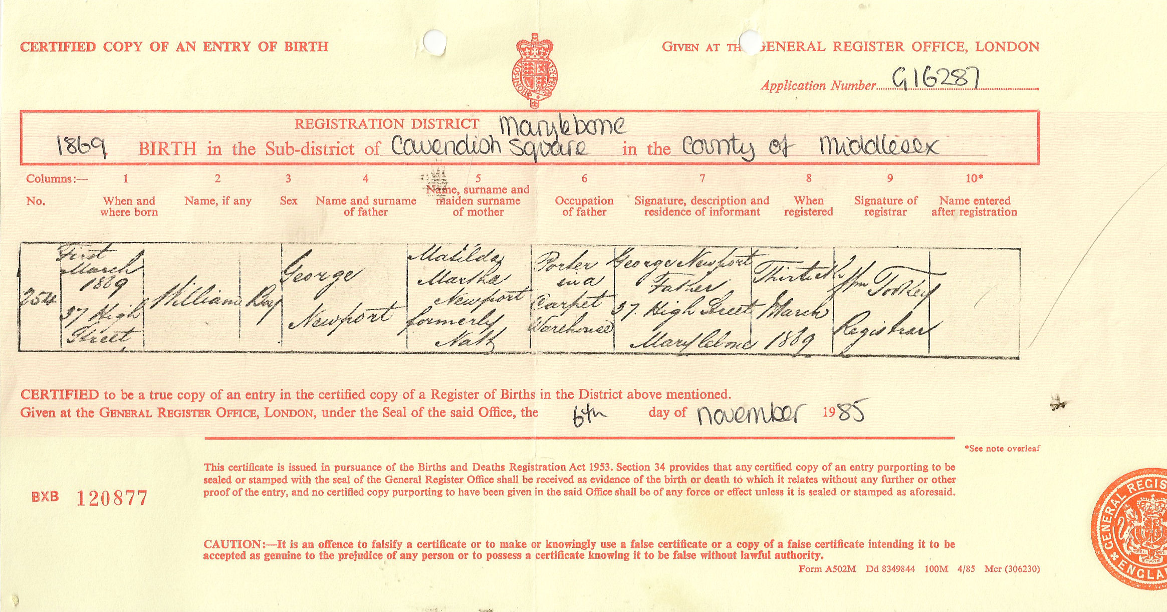 The newport family history anyone wishing to get his birth certificate will need the volume and page numbers but an image of that certificate can be seen here aiddatafo Image collections